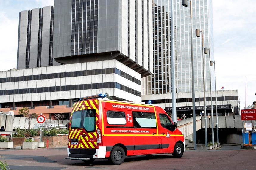 An emergency vehicle arrives at the Bichat Hospital in Paris on Feb 15, 2020.