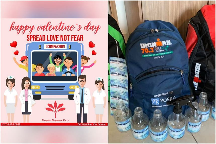 The PSP put up a Valentine's Day banner with images of healthcare workers on its Facebook page while the secretary-general of Singapore People's Party, Mr Steve Chia, went to the ground to distribute bottles of hand sanitiser.
