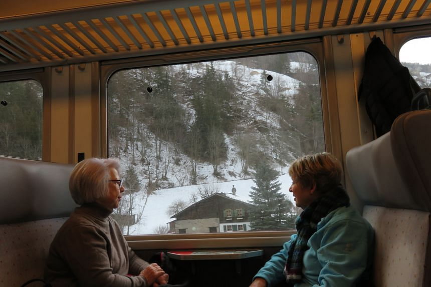 The train ride from Zurich airport to Andermatt takes about two and a half hours, and you can enjoy the views of the scenic snowscape along the way.
