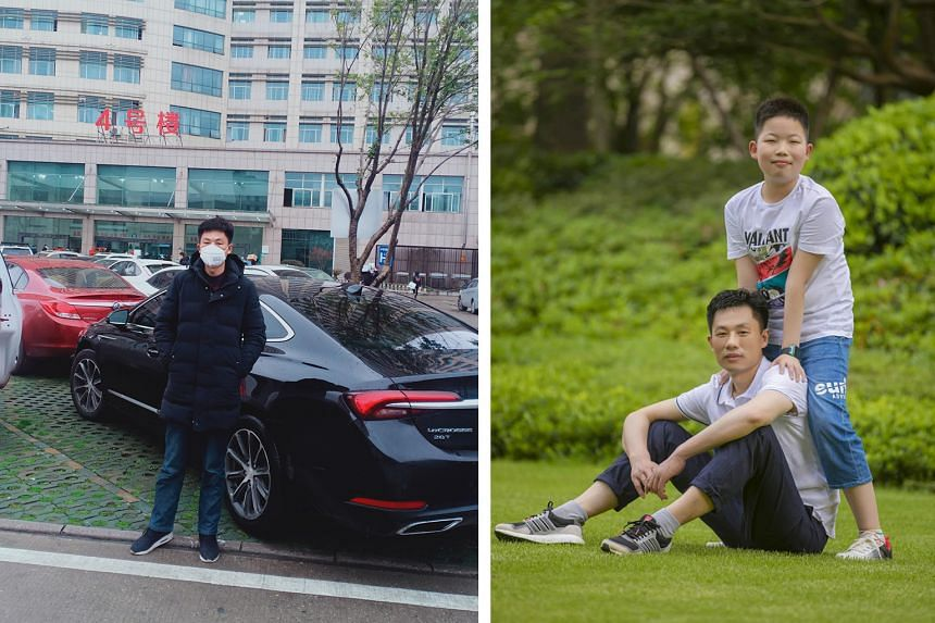 (Left) Mr Zhang Jie and his two workers have been taking medics to and from hospitals in Wuhan in his company cars. (Right) Mr Zhang with his son, then 10 years old, in a picture taken last year.