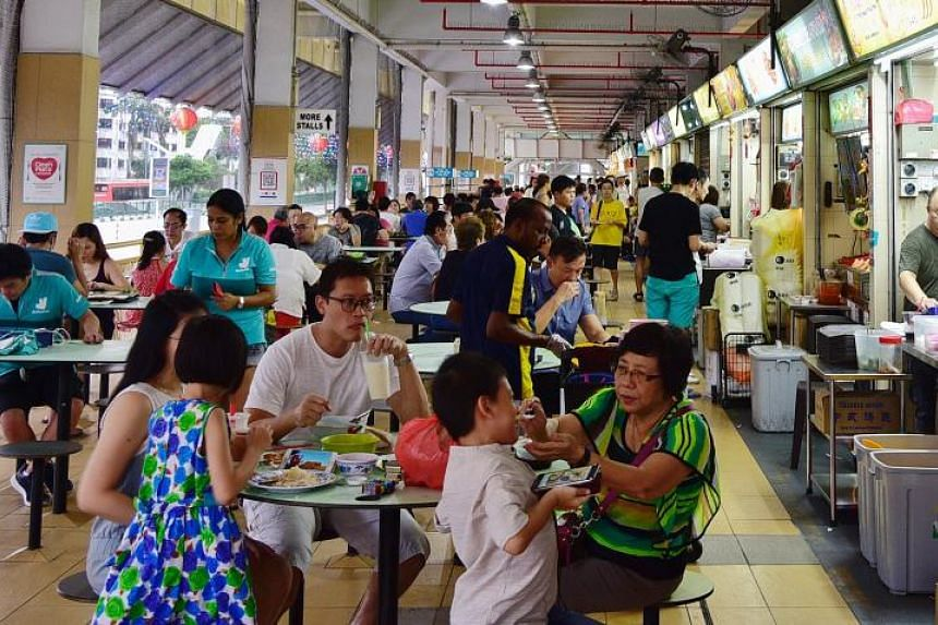 Patrons dining at the Old Airport Road Food Centre on Feb 16, 2020.