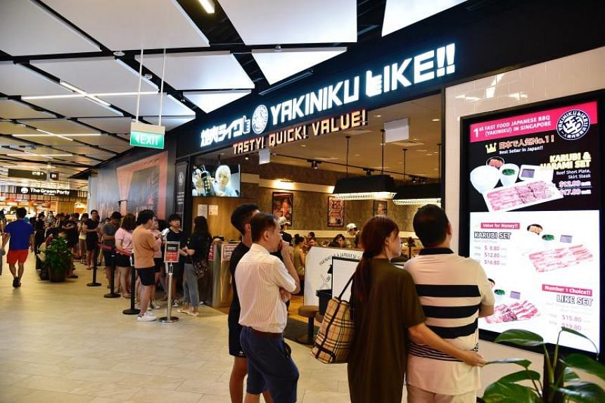Diners queueing up outside Yakiniku Like at PLQ Mall on Feb 16, 2020.