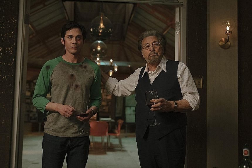 Available on Amazon Prime Video from Friday, Hunters stars Logan Lerman (left) and Al Pacino as members of a group of Nazi hunters in 1970s New York.