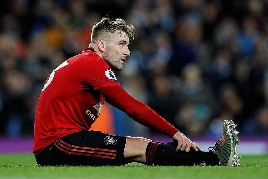 Manchester United's Luke Shaw during their 2-1 upset win on Dec 7 at the Etihad Stadium in the Manchester derby, a rare high point for the club this season. PHOTO: REUTERS