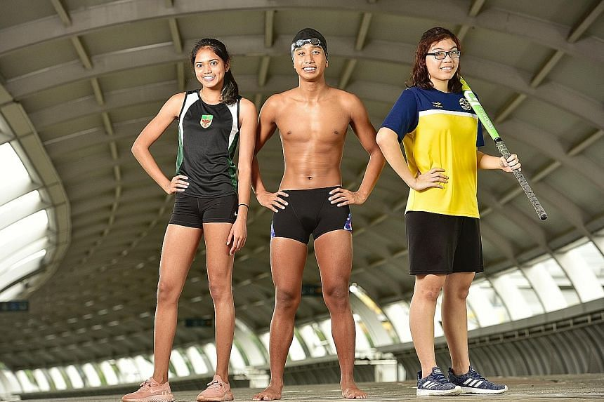 From left: The Straits Times Young Athlete of the Year nominees Grace Shani Anthony (athletics); Ardi Zulhilmi (swimming) and Deborah Lee (hockey). The others are Evan Poo (softball) and Gune Atharva Rahul (cricket). ST PHOTO: DESMOND WEE