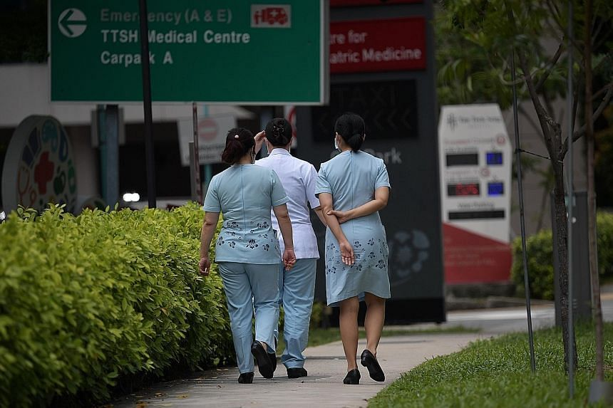 People worried that nurses' uniforms are carrying the bug have nothing to fear, said Healthcare Services Employees' Union president K. Thanaletchimi. ST PHOTO: KUA CHEE SIONG