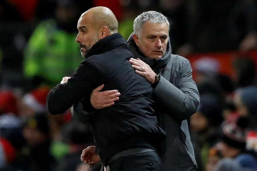 Manchester City manager Pep Guardiola (left) is an old rival of Tottenham Hotspur manager Jose Mourinho from their time in Spanish football.