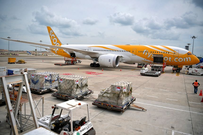A photo taken on Feb 8, 2020, at Changi Airport showing the Scoot plane that was used to evacuate 174 Singaporeans from Wuhan. The group of Singaporeans returned on Feb 9.