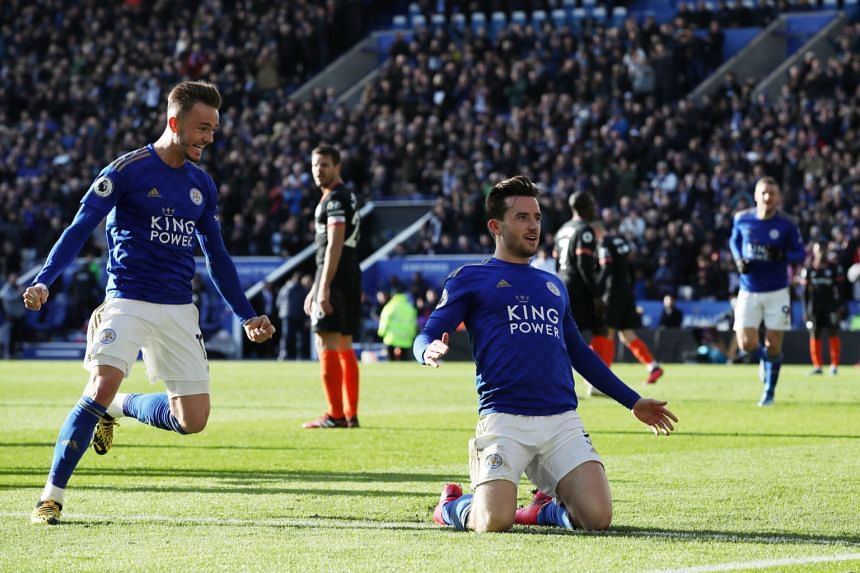 In a photo taken on Feb 1, 2020, Leicester City's Ben Chilwell celebrates scoring their second goal.