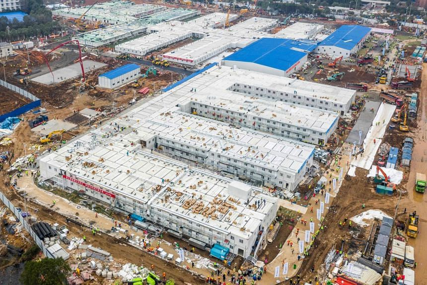 An aerial view of the Huoshenshan hospital built to accommodate patients with the coronavirus in Wuhan on Feb 2, 2020.