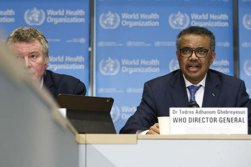 Executive Director of WHO's Health Emergencies programme Michael Ryan (left) and Director General Tedros Adhanom Ghebreyesus (right) during a press conference at WHO's headquarters in Geneva, on Feb 17, 2020.