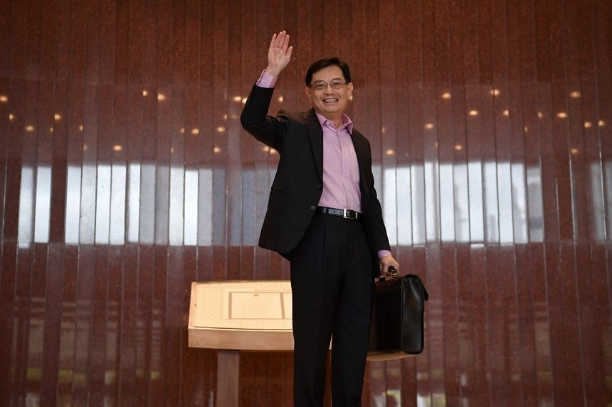Deputy Prime Minister and Finance Minister Heng Swee Keat arrives at Parliament House to deliver the Budget speech on Feb 18, 2020.