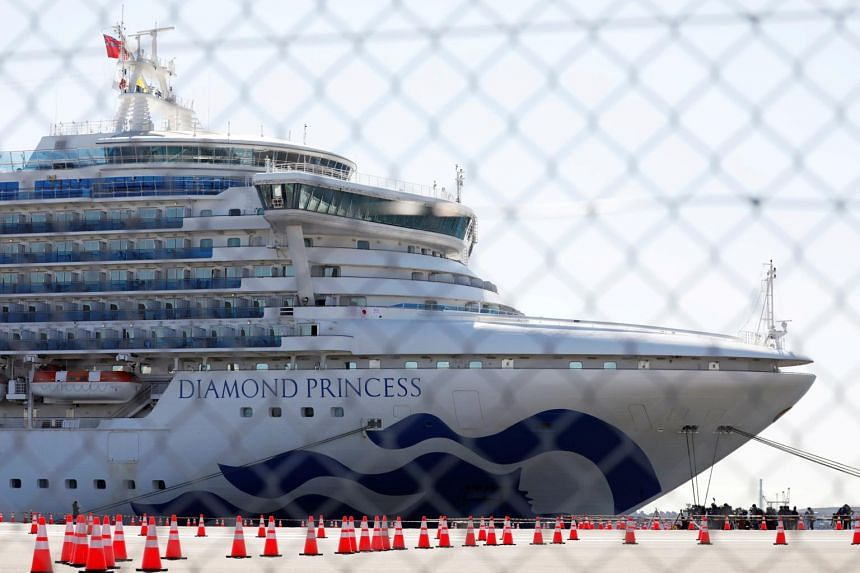 The Diamond Princess cruise ship at Daikoku Pier Cruise Terminal in Yokohama, south of Tokyo, on Feb 11, 2020.