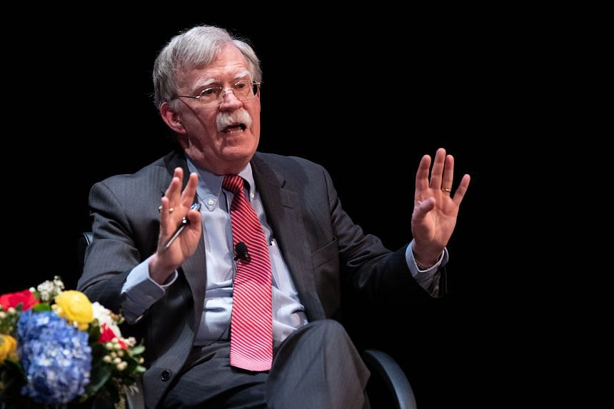 Former National Security adviser John Bolton speaks on stage during a public discussion at Duke University in Durham, North Carolina, on Feb 17, 2020.