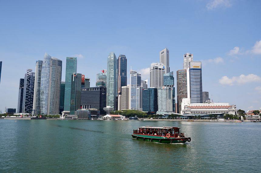 view of the Singapore skyline.