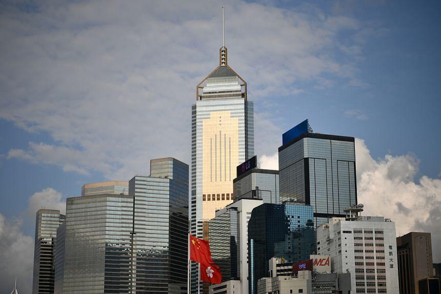A view of Hong Kong's skyline of Hong Kong as seen from Tamar Park, on June 15, 2019.