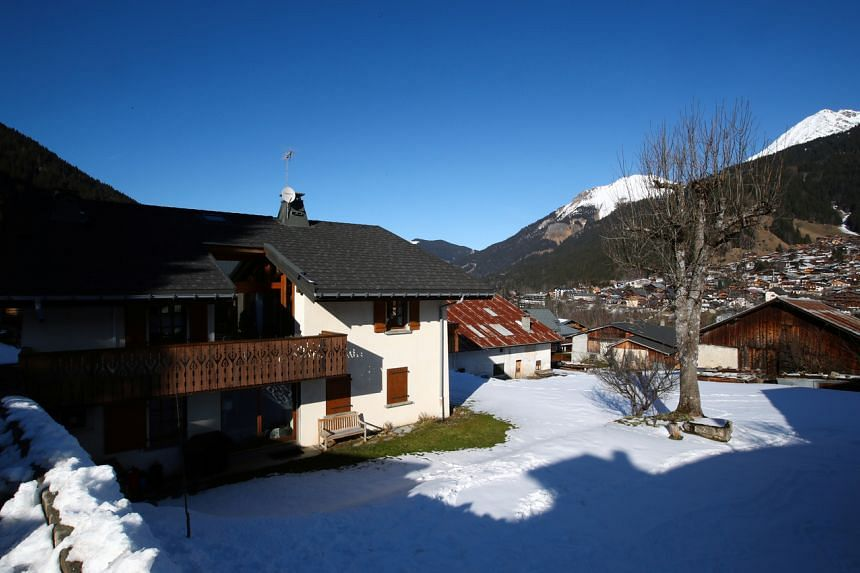 A view of the house where five British nationals including a child, who have been diagnosed with the coronavirus, were staying at the French Alpine resort of Les Contamines-Montjoie, France.