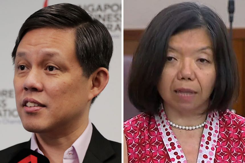 MR CHAN CHUN SING, Minister for Trade and Industry (left), responding to Nominated Member of Parliament Anthea Ong's concerns that the disbursement of public funds might be politicised.