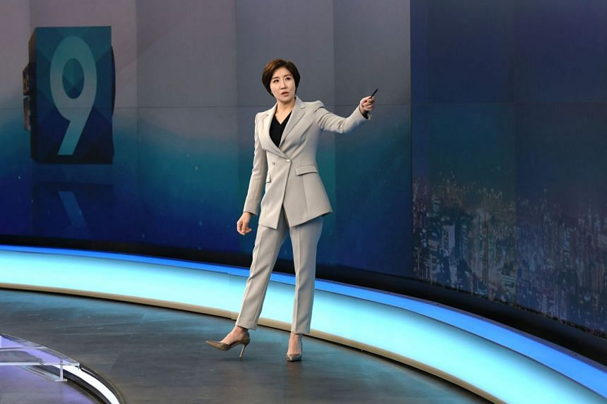 South Korean news anchor Lee So-jeong attends a rehearsal of a primetime newscast at KBS, South Korea's national public broadcaster, in Seoul on Feb 6, 2020.