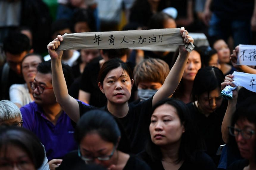 Protesters during the Hong Kong Mothers' Anti-Extradition Rally at Chater Garden on July 5, 2019, to show solidarity with the young protesters.