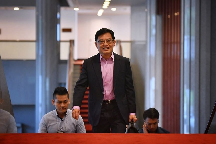DPM Heng Swee Keat arrives at the Parliament House for Budget Day on Feb 18, 2020.