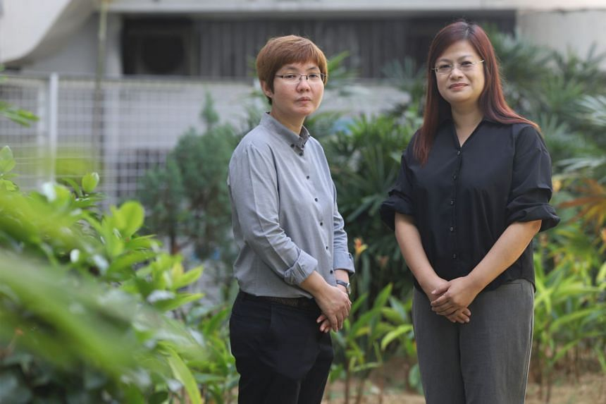 Social worker Julia Quek (left) and Tian Ching Ching, counsellor at HT Cares, at Bedok Division Headquarters, on Feb 20, 2020.