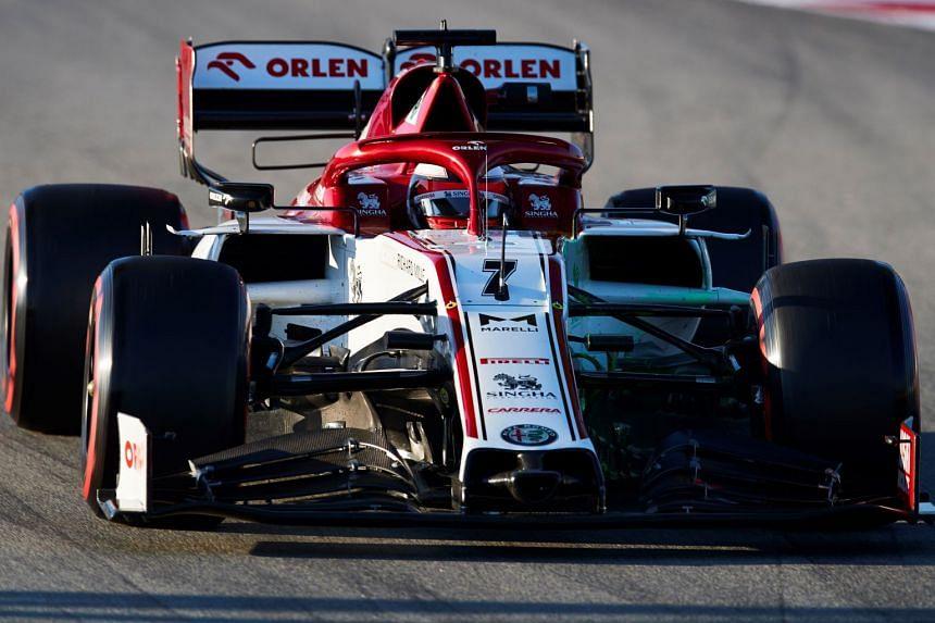 Finish driver Kimi Raikkonen of Alfa Romeo in action during the second day of pre-season testing.