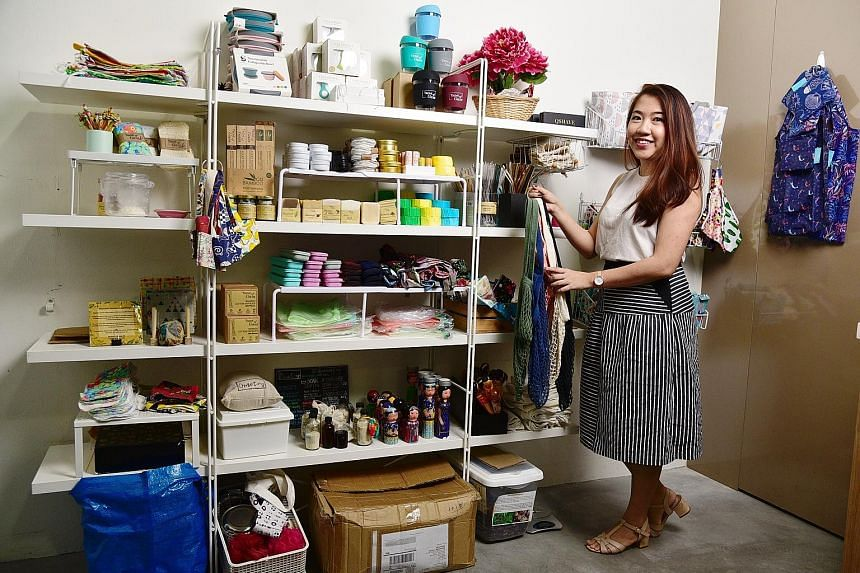 Ms June Fong, the sole owner of start-up Trove of Gaia, with a range of lifestyle products in her showroom. The showroom, which doubles up as her office, not only allows customers to touch and feel the products, but also allows her to educate her cus