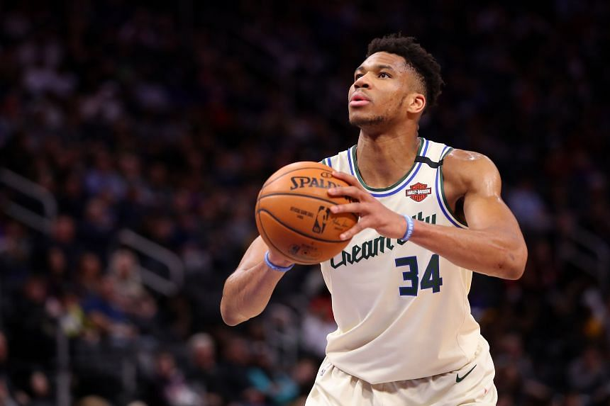 Giannis Antetokounmpo of the Milwaukee Bucks shoots a free throw while playing the Detroit Pistons in Detroit on Feb 20, 2020.