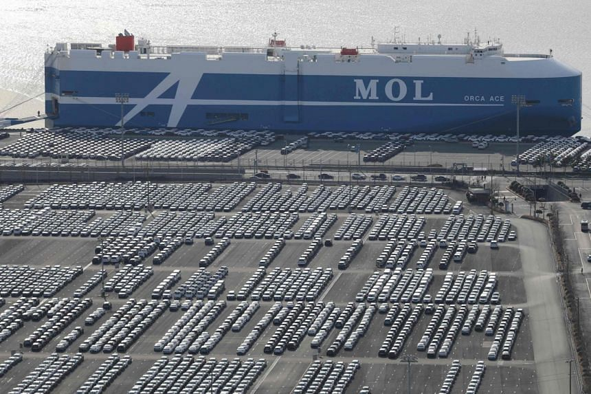In a photo taken on Feb 6, 2020, rows of Hyundai Motor cars are parked for shipping in the southeastern port of Ulsan.