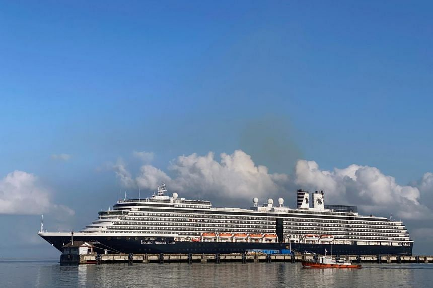 The cruise ship MS Westerdam at dock in the port of Sihanoukville, Cambodia, on Feb 16, 2020.
