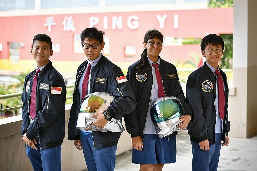 Ping Yi Secondary students (from left) Jerald Lee Shan Cheng, Fabian Lee Bing Jie, Nadia Sharon Moh Omar and Shawn Sia Zhi Yuan each won a place in the Astronaut Al Worden Endeavour Scholarship programme. Their five-minute video about living on Satur