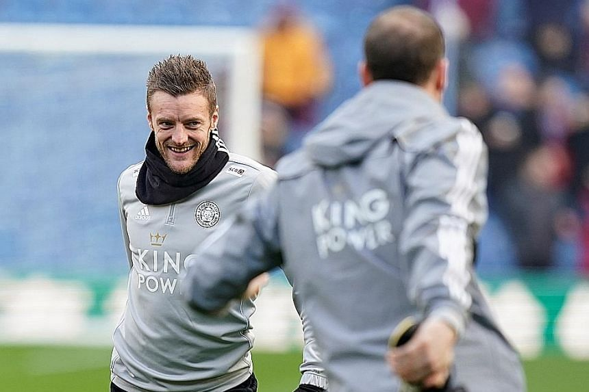 Leicester will be depending on Premier League leading scorer Jamie Vardy (far left) to lead the attack against Manchester City today. The striker, with 17 league goals this season, gave the Foxes the lead in the reverse fixture in December before Cit