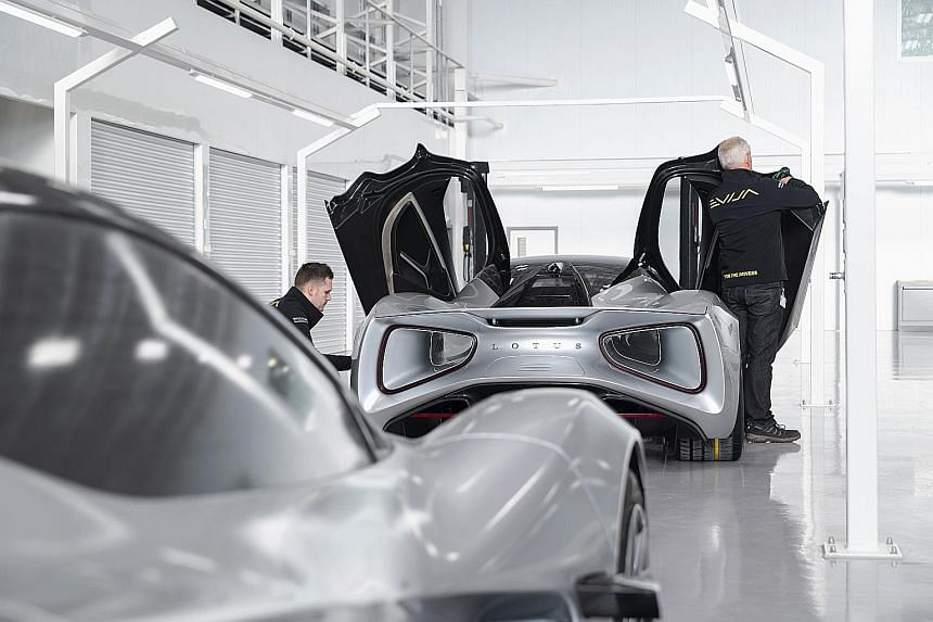 Lotus electric supercar goes into production.