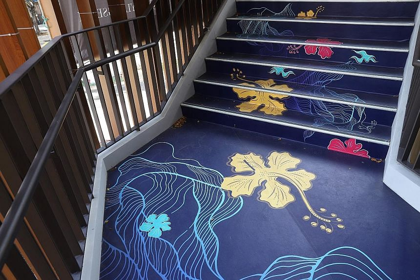 Floral stickers adorn the steps.
