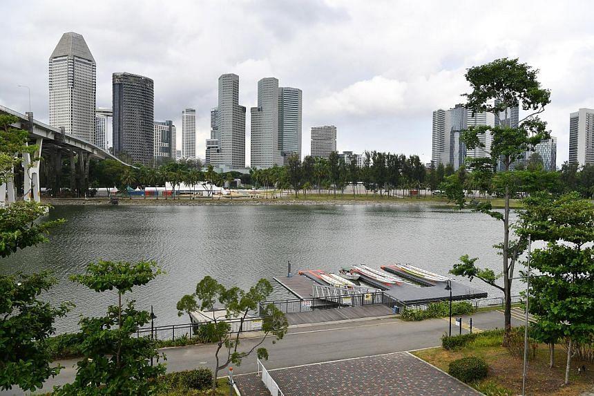 The community club's (CC) pontoon is set against the Singapore skyline.