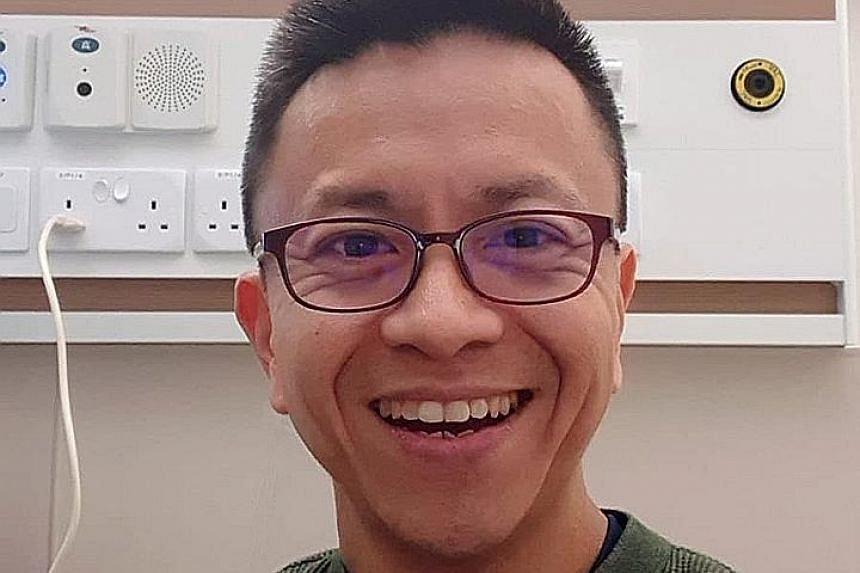 A selfie taken by Grace Assembly of God's senior pastor Wilson Teo in the NCID isolation room last week. He had tested positive for the coronavirus and was warded for 10 days. PHOTO: WILSON TEO