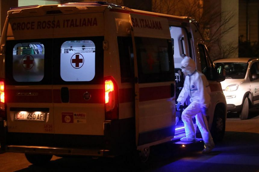 One of the ambulances that transported a person infected by the coronavirus to the Sacco Hospital in Milan, Italy, on Feb 21, 2020.