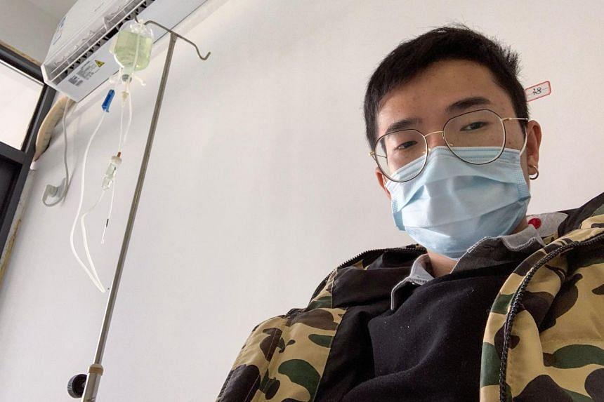 Coronavirus survivor Xiao Yao receives treatment at a hospital in Hubei, China on Feb 4, 2020.