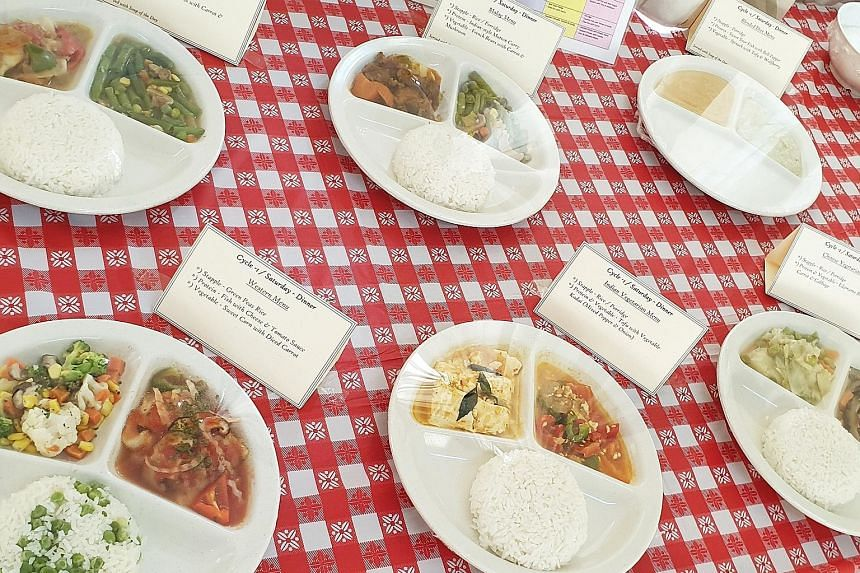 The meals (above) at Orange Valley are tailored to the nutritional needs of its elderly residents. A typical well-rounded meal may consist of rice noodles with fish cake and prawns with a serving of fruit. The elderly require more protein-rich food than y