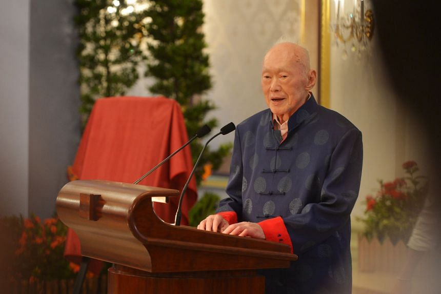 In a photo taken on Aug 6, 2013, former prime minister Lee Kuan Yew speaks at the book launch of One Man's View Of The World.