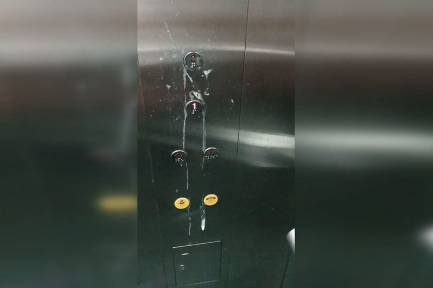 The incident came to light after SBS Transit posted a photo on Facebook of the lift buttons covered in spittle.