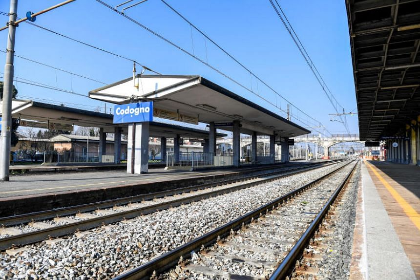 Codogno's train station, which was closed by authorities blocking public transport due to a coronavirus outbreak, is seen empty in Codogno, Italy, on Feb 22, 2020.