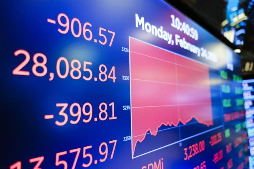 A screen shows the Dow Jones industrial average on the floor of the New York Stock Exchange on Feb 24, 2020.