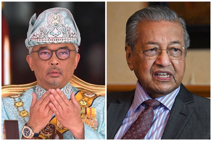 Sultan Abdullah Ri'ayatuddin (left) has also appointed Prime Minister Mahathir Mohamad as interim prime minister until a head of government is appointed.
