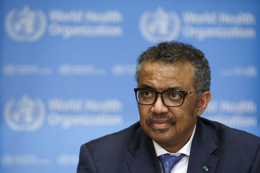 In a photo taken on Feb 17, 2020, Director General of the World Health Organization (WHO) Tedros Adhanom Ghebreyesus speaks to media during a press conference at the WHO headquarters in Geneva.