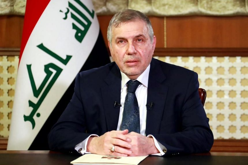 Iraqi Prime Minister, Mohammed Tawfiq Allawi delivers a televised speech in Baghdad, Iraq on Feb 19, 2020.