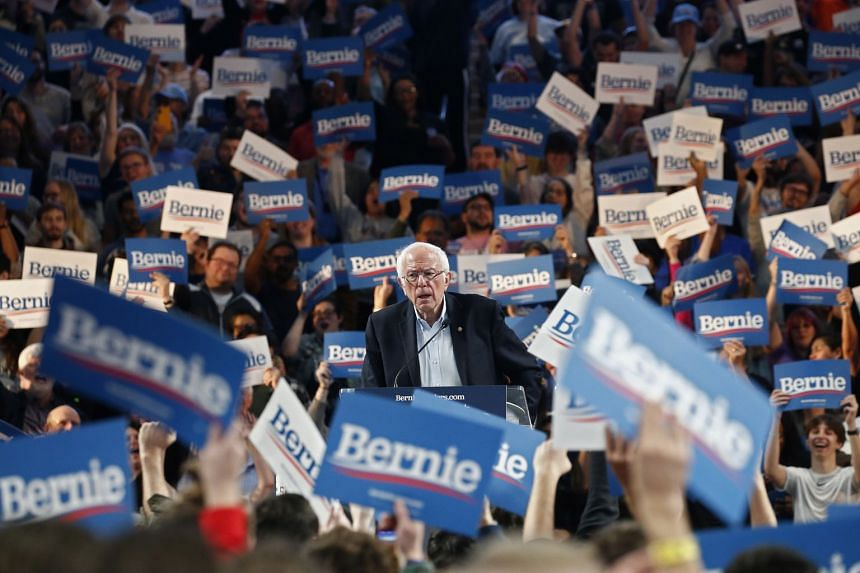 Democratic presidential candidate Bernie Sanders speaks at a rally inside the University of Houston on Feb 23, 2020.