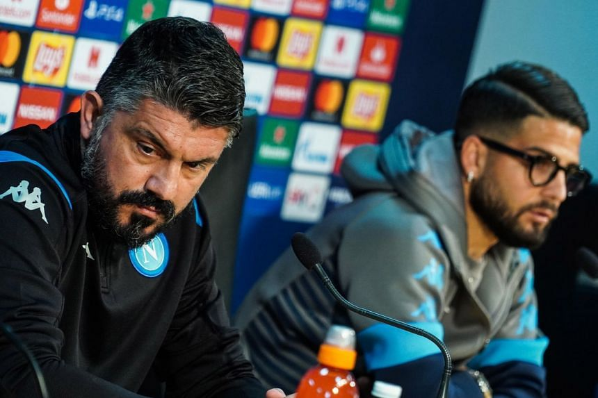 Napoli head coach Gennaro Gattuso and forward Lorenzo Insigne at a press conference at Castel Volturno sport centre in Caserta, Italy on Feb 24, 2020, ahead of the Champions League game with Barcelona.