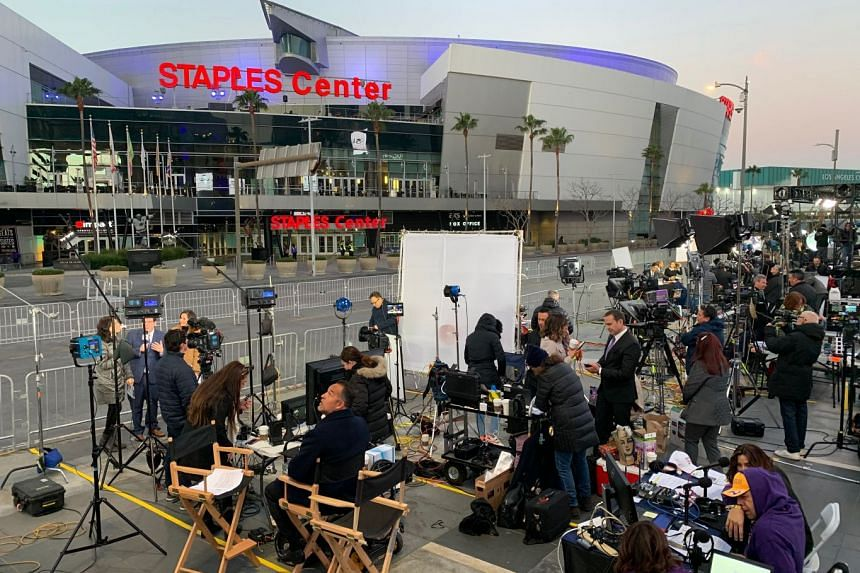 The media getting ready outside the Staples Centre on Feb 24, 2020 before a memorial to celebrate the life of Kobe Bryant and daughter Gianna Bryant.